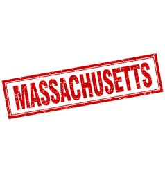 Massachusetts red square grunge stamp on white vector