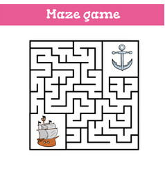 Maze game for children cute cartoon worksheet vector