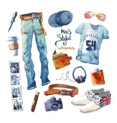 Men set trendy look watercolor clothes vector