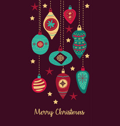 Merry christmas card with balls hanging vector
