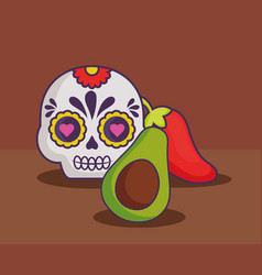 mexican sugar skull design vector image