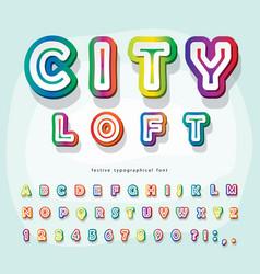 Modern urban font holographic 3d alphabet trendy vector