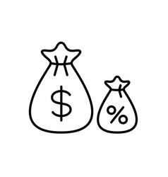 Money bag with smaller bag percents funds vector