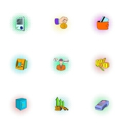 Money icons set pop-art style vector image