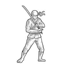 ninja warrior sketch vector image