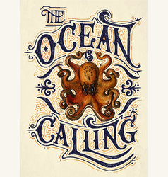 ocean is calling quote vector image