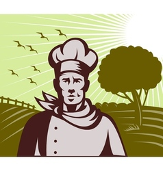 Organic Baker chef or cook with farm in background vector
