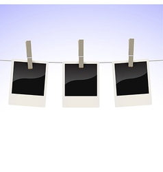 Photos on clothesline vector image vector image