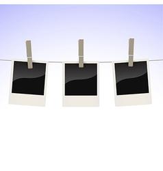 Photos on clothesline vector