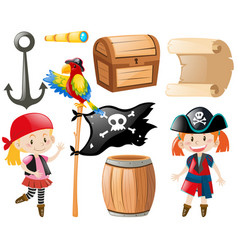 Pirate set with pirate and other item vector