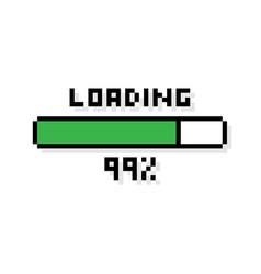 pixel art 8-bit loading bar 99 percent vector image