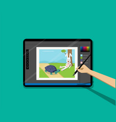 Point of view kid painted cartoon on tablet by pen vector
