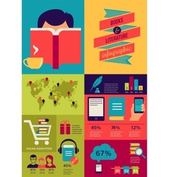reading books infographics set flat icons vector image