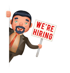 recruiter businessman look out corner hiring paper vector image