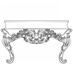 Rich Baroque commode Table with drawers vector
