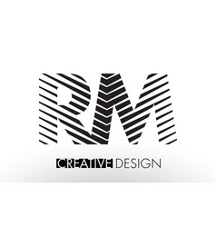 Rm r m lines letter design with creative elegant vector
