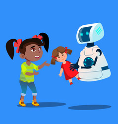 robot offering a stuffed toy to little cute girl vector image
