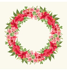 Round frame with red hibiscus flowers vector