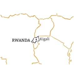 Rwanda hand-drawn sketch map vector