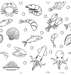 Sea life seamless pattern Underwater endless vector