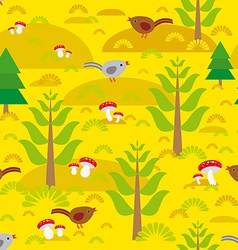 Seamless background with orange autumn mushrooms vector image