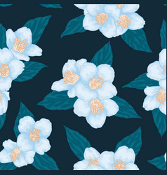 seamless branch blue chamomile graphic vector image