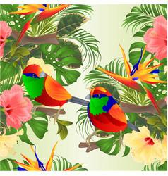 Seamless texture tropical birds hibiscus vector