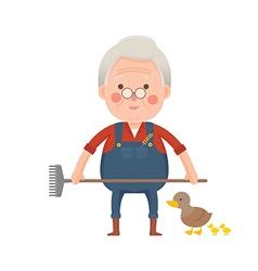 Senior Farmer with Ducks Cartoon Character vector