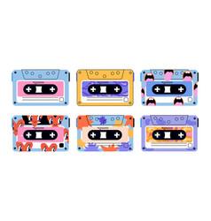 Set cute retro vintage tape cassettes on white vector