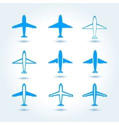 Set of airplane symbol vector