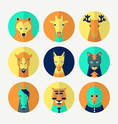 Set of stylized animal avatar vector image