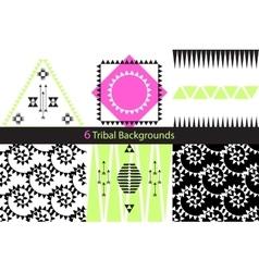 set six ethnic tribal backgrounds vector image