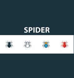 Spider icon set premium symbol in different vector
