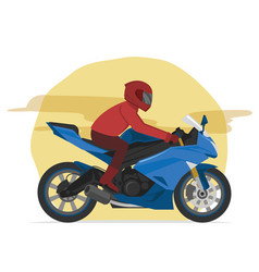 Sport blue motorbike rider speeding on the street vector