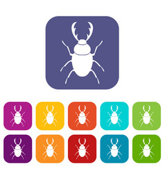 Stag beetle icons set vector