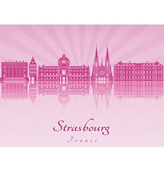 Strasbourg skyline in purple radiant orchid vector image