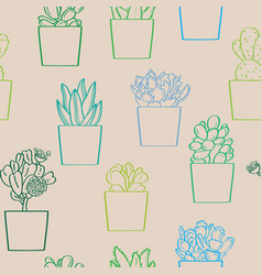 succulent plants seamless pattern vector image