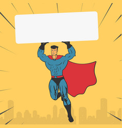 template super hero holds a banner vector image