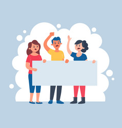 Three angry people holding a blank banner vector