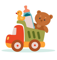 Toy truck loaded with other toys and a bottle of vector