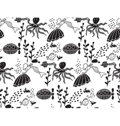 Underwater sealife animal monochrome seamless vector