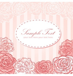 Valentine flower stripe invitation love card vector