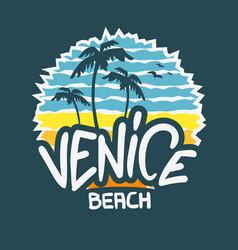 Venice beach los angeles california label sig vector