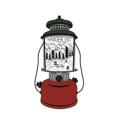 vintage hand drawn camping lantern emblem vector image