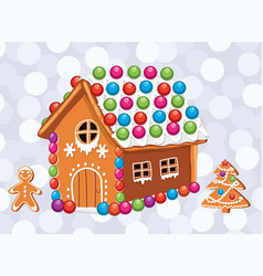 Xmas card with colorful gingerbread cookies vector