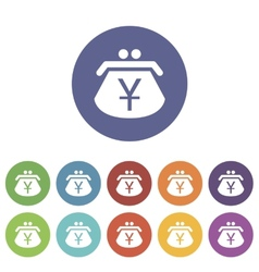 Yen purse flat icon vector