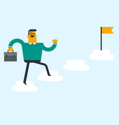 young businessman jumping on clouds with a flag vector image