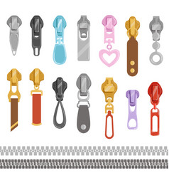 Zipper set on white cartoon zippers various vector