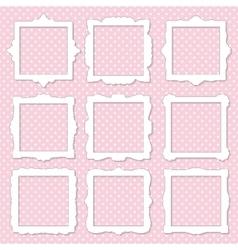 Cute square photo frame set on polka dot vector image vector image