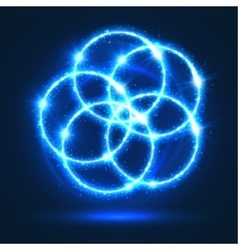 Light circles abstract neon lights flashes vector